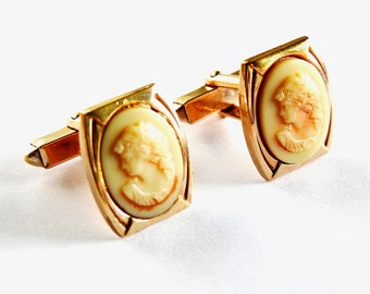 Antique Gold Plated Carved Stone Cameo Cufflinks