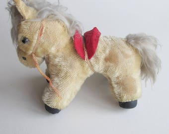 Pony! Very sweet vintage soft toy - well worn and much loved, with red saddle and bridle.