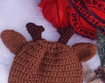 Crochet Reindeer Hat