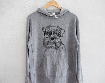 Wrigley the Mini Schnauzer Hoodie - Grey French Terry - Unisex Slim Fit - Schnauzer Lover, Gifts For Dog Owner, Schnauzer Sweatshirt