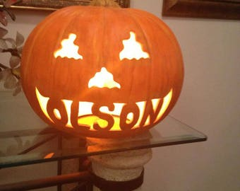 Personalized Hand Painted Pumpkin with Lights
