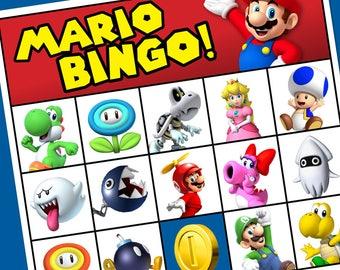 "Super Mario Printable Bingo Cards - 8.5"" x 11"" - 8 Different Cards"