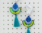COLOURFUL EARRINGS in tropical shades with turquoise tassels. OVERSIZE earrings, cut from recycled fabric and hand stitched. Fluorescent.