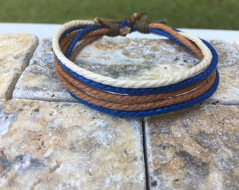 Adjustable Hemp Bracelet Made With 6 Strands of Hemp and One Strand of Waxed Cotton, Gifts Under Mothers Day Gift HB-19