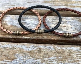 Mens Leather Bracelet With Brass Magnetic Clasp, Thin Braided Leather Bracelet, Mens Bracelet, Gifts under 20 CS-12