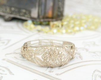 Antique Silver Bracelet - Downton Abbey Jewelry Gift For Her - Fine Silver Filigree Jewelry - Victorian Clamper Bracelet - Vintage Wedding