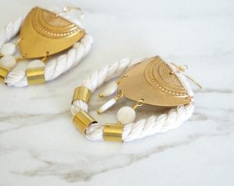 Statement Earrings, Gold Earrings, Neutral Jewelry, Fashion Accessories, Handmade everyday, Woman gift, Trendy jewelry, Aztec Earrings