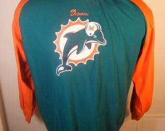 NFL Football Miami Dolphins Sz XL Long Sleeve Shirt Vintage Design With Helmet Florida Sports Team