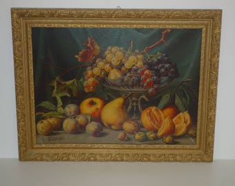 Antique French still life large Chromolithography  Picture Print Chromo for the kitchen 1900 Fruits Walnut Hazelnut Paint French Gold Frame