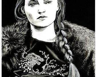 GAME OF THRONES - Sansa Stark (Sophie Turner) original A3 ink drawing portrait
