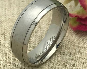 8mm Personalized Titanium Wedding Band, Custom Engraved Promise Ring, Couples Ring, His and Her Wedding Ring, Purity Ring, Friendship Ring