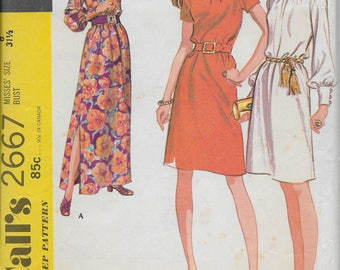 McCall's 2667 Sewing Pattern for Misses Dress in Three Versions