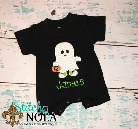 Boy Ghost Shirt, Romper or Bodysuit, Halloween Applique, Ghost Applique, Ghost Romper, Halloween Shirt, Ghost Shirt
