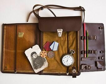 Soviet Military Leather Map Bag - Messenger Bag, Soviet Army Bag, High Rank Officers Bag, Vintage Military Bag, Soviet Officer Bag
