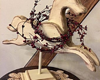 """Primitive Horse Handmade """"Weather Vane"""" Wooden Running Horse w/ Red Berry Wreath Unique Gatherings Home Decor Item"""