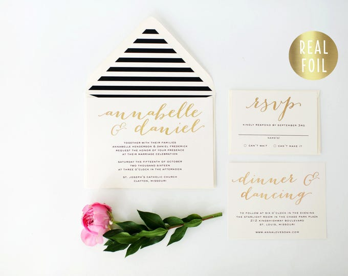 annabelle gold foil wedding invitation sample set  // gold foil black white stripes modern calligraphy custom luxe romantic invite