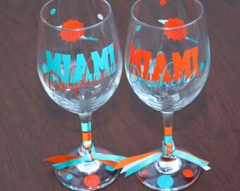 Miami Dolphins Glassware, Football Glassware, Sports Glassware, Go Dolphins, Dolphins Gifts