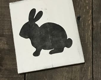 Black Bunny, Easter decor, Easter sign, spring decor, Bunny on reclaimed wood,