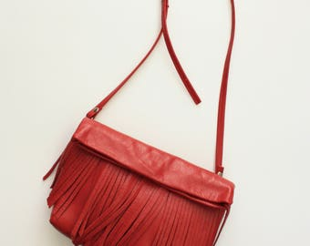 Fringy in red - foldover cross body clutch