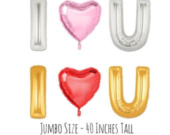 I Heart You, I Love You Big Foil Letter Balloons, Big 40 Inch Party Balloons, Engagement Party Decor, Bridal Shower Party Decor, Balloons