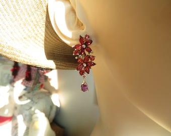 Genuine Natural Orange Mozambique Garnet & Amethyst 14K White Gold/925 Lever Back Dangle Earrings, 7.6 G
