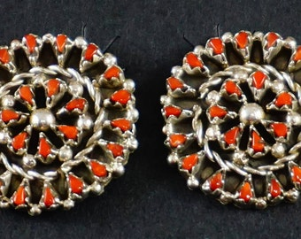 Zuni 50ct Coral Petit Point Satellite Cluster Earrings by T. Quetawki-517A-1