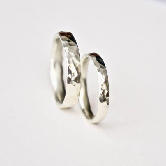 White Gold Round Hammered Wedding Bands - 9 Carat Gold