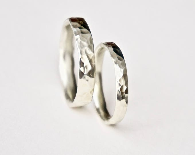 White Gold Round Hammered Wedding Bands - 9 Carat Gold