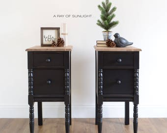 sold pair of nightstands vintage end tables painted furniture farmhouse decor