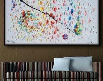 """Abstract Painting 67"""" - Original Oil Painting on canvas, thick layers, Luxury painting with beautiful living colors by Koby Feldmos"""