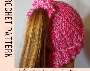 Crochet pattern for hats - Ponytail Hat pattern - messy bun beanie pattern - crochet hat pattern - messy bun hat pattern - instant download