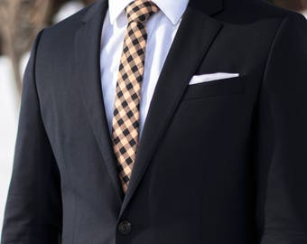 Tan and Black Checkered Skinny Tie
