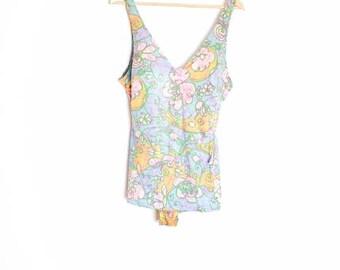 vintage 60s swimsuit, pin up swimsuit, 60s bathing suit, one piece swimsuit, floral print swimsuit, 1960s 60s clothing, pastel print L large