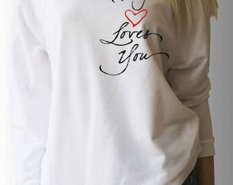 """Valentine's Day """"My Heart Loves You"""" Wide Neck 3/4 length sleeve Sweatshirt style Top"""