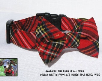 Dog Bow Tie Collar~Red & Green Plaid Bow Tie~Bow Tie Dog Collar~Holiday Dog Collar~Dog Gift~Dog Bow Tie~Red Plaid Bow Tie Collar~Dog Bowtie~