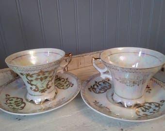 Set of 2 - Bone China iridescent gilt lusterware Royal Crown (Japan) 905 footed tea cup & saucer