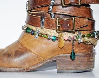 Amber and Colored Glass Beaded Boot Bracelet