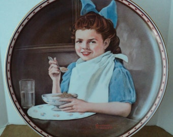 """Norman Rockwell Collectible Plate """"Good Intentions"""" with Gold Trim Official 1987 Painting of Girl in Blue Dress Americana Folksy Art Decor"""
