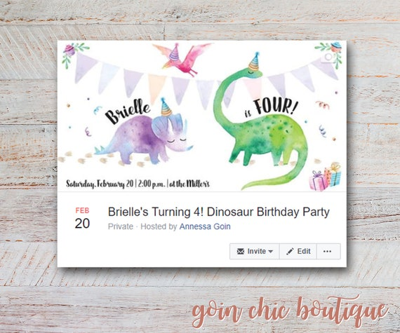 Dinosaur birthday party facebook event cover photo girl dinosaur il570xn filmwisefo