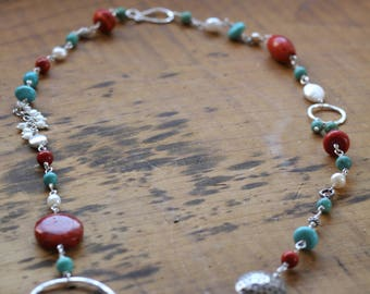 Turquoise, Coral, Pearl and Sterling silver necklace
