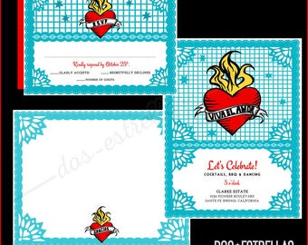 Viva El Amor RSVP cards and envelopes
