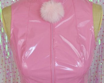Pom pom powder puff pastel PINK pvc CROP TOP