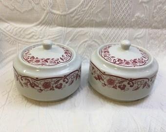 Shenango China Sugar Bowl, Red Floral, Scrolls, No Trim, Pattern SHO239, Mid Century, USA, Restaurantware, Railroad China, Chardon Rose