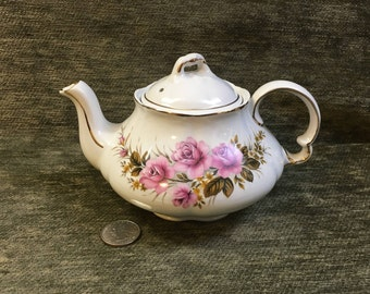 Ellgreave Ironstone Floral Teapot, Pink Rose Floral, Ribbed, Embossed, Gold Trim, Woods & Sons, England, Pattern 4681A, Locking Top
