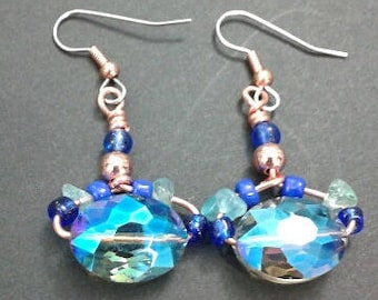 Ocean color beaded earrings with free shipping