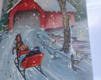 Vintage Christmas card sleigh ride unused+env