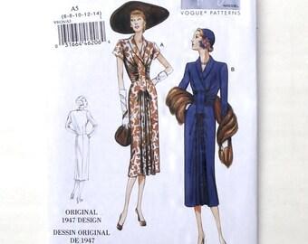 Vogue Retro Ladies Dress Patterns #V9126 - Original 1947 Design - UNCUT - Size 6+8+10+12+14 (Bust 30 1/2+31 1/2+32 1/2+34+36)