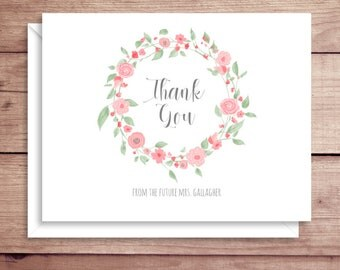 Rose Wreath Note Cards - Bridal Folded Note Cards - Bridal Stationery - Bridal Shower Thank You Notes - Floral Note Cards