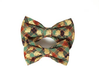 Fall Gold Leaves Dog Bow Tie, Cat Bow Tie, wedding bow tie, bow tie, thanksgiving