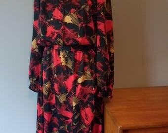 Stunning 80's silky day dress shirt dress